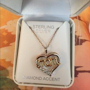 Sterling silver/gold diamond Mom Necklacr